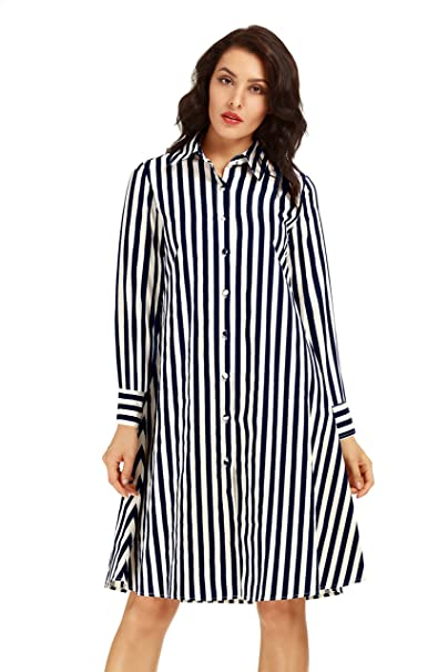 58c24585b0 Neo-wows Women s Casual Stripe Cotton Short Sleeve Button Down Shirt Dresses  at Amazon Women s Clothing store