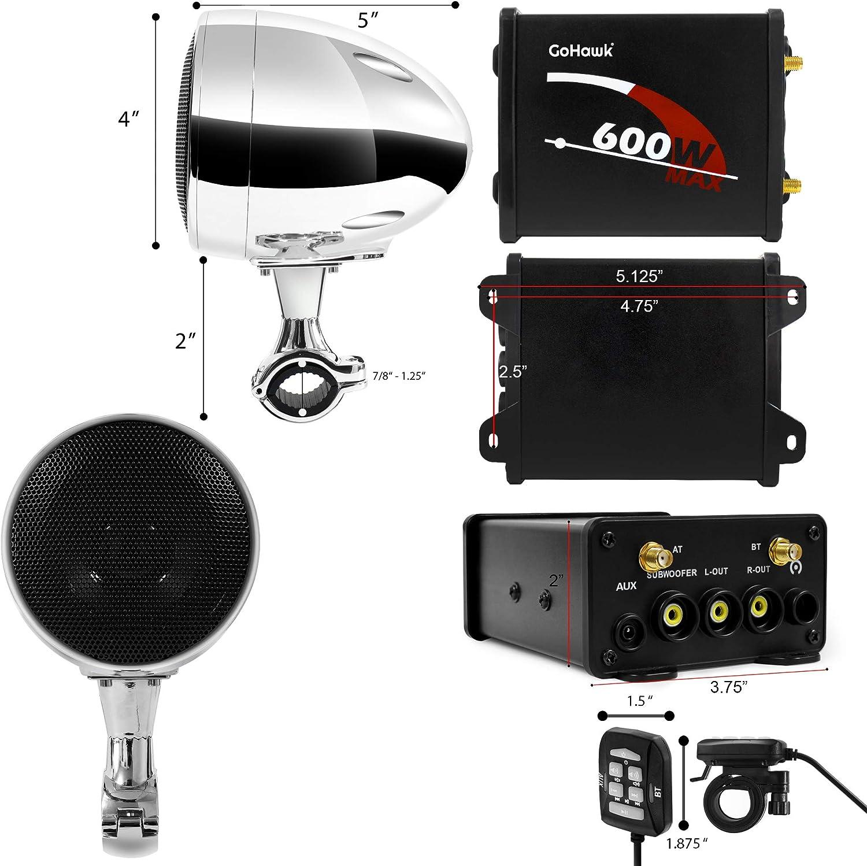 Handlebar Harley Yamaha Can-Am ATV UTV RZR Polaris GoHawk TN4 2.1 Channel Amplifier 4 Full Range Waterproof Bluetooth Motorcycle Stereo Speakers Audio System AUX FM Radio for 7//8-1.25 in