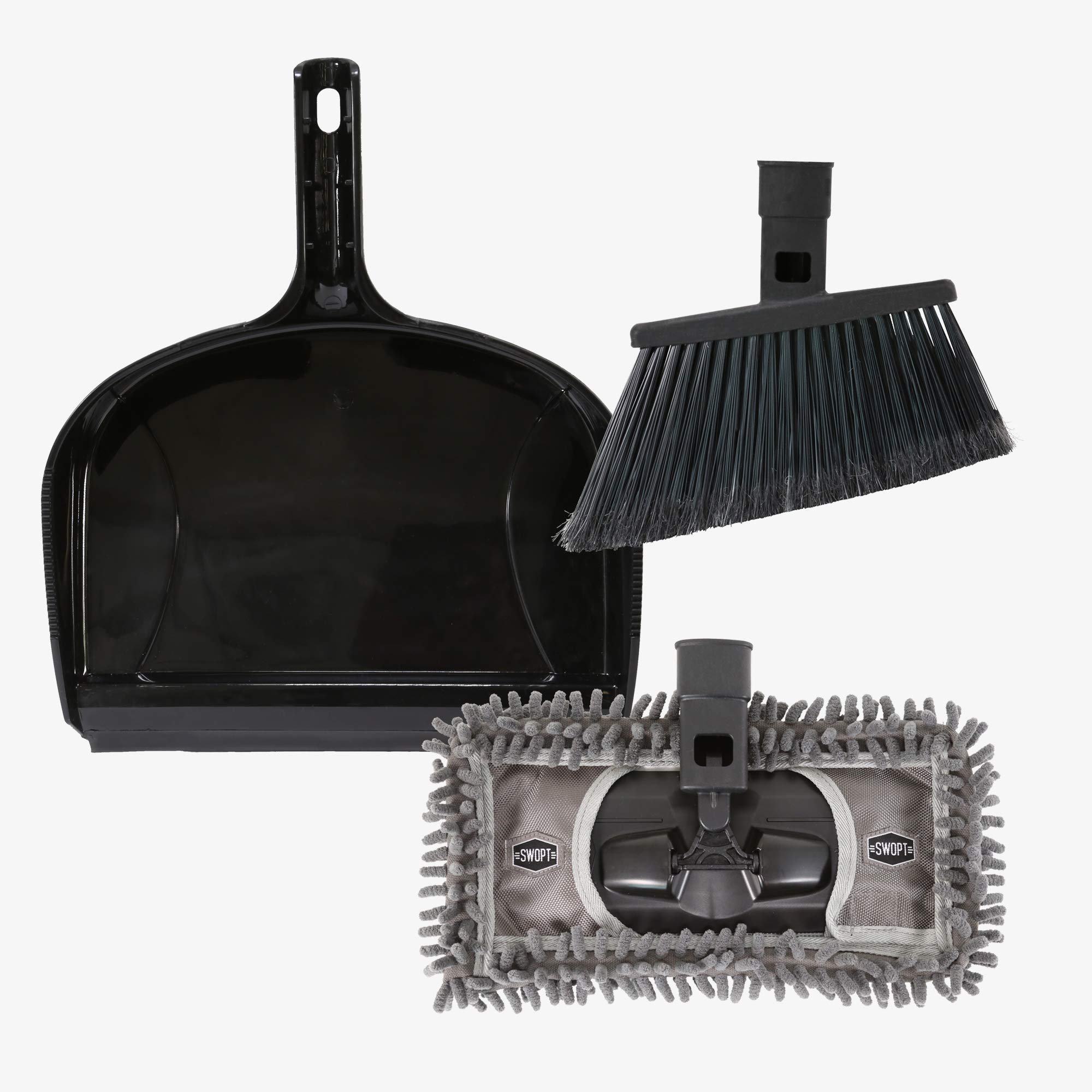 Swopt 5315C2 SWOPT 12 Dust Pan Cleaning Set, Indoor Cleaning Set Includes SWOPT Standard Angle Broom, 12 Dust Mop and Plastic Dust Pan