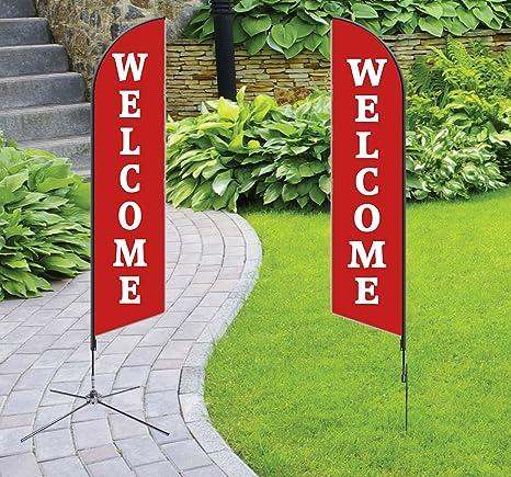 Amazon.com: Bienvenido bandera una sola cara, forma de la ...