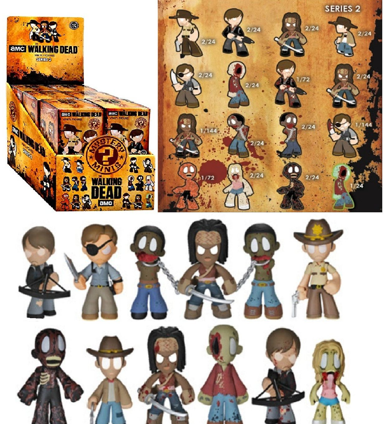Funko Mystery Minis The Walking Dead Series 2 Display Case of 12 Figures 2.5