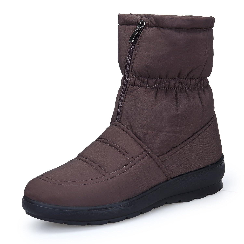 KOUDYEN Bottes Femme Bottes de Marron Neige Boots Hiver Chaussures Plates Boots Bottines Fermeture Éclair Marron 98e232b - epictionpvp.space