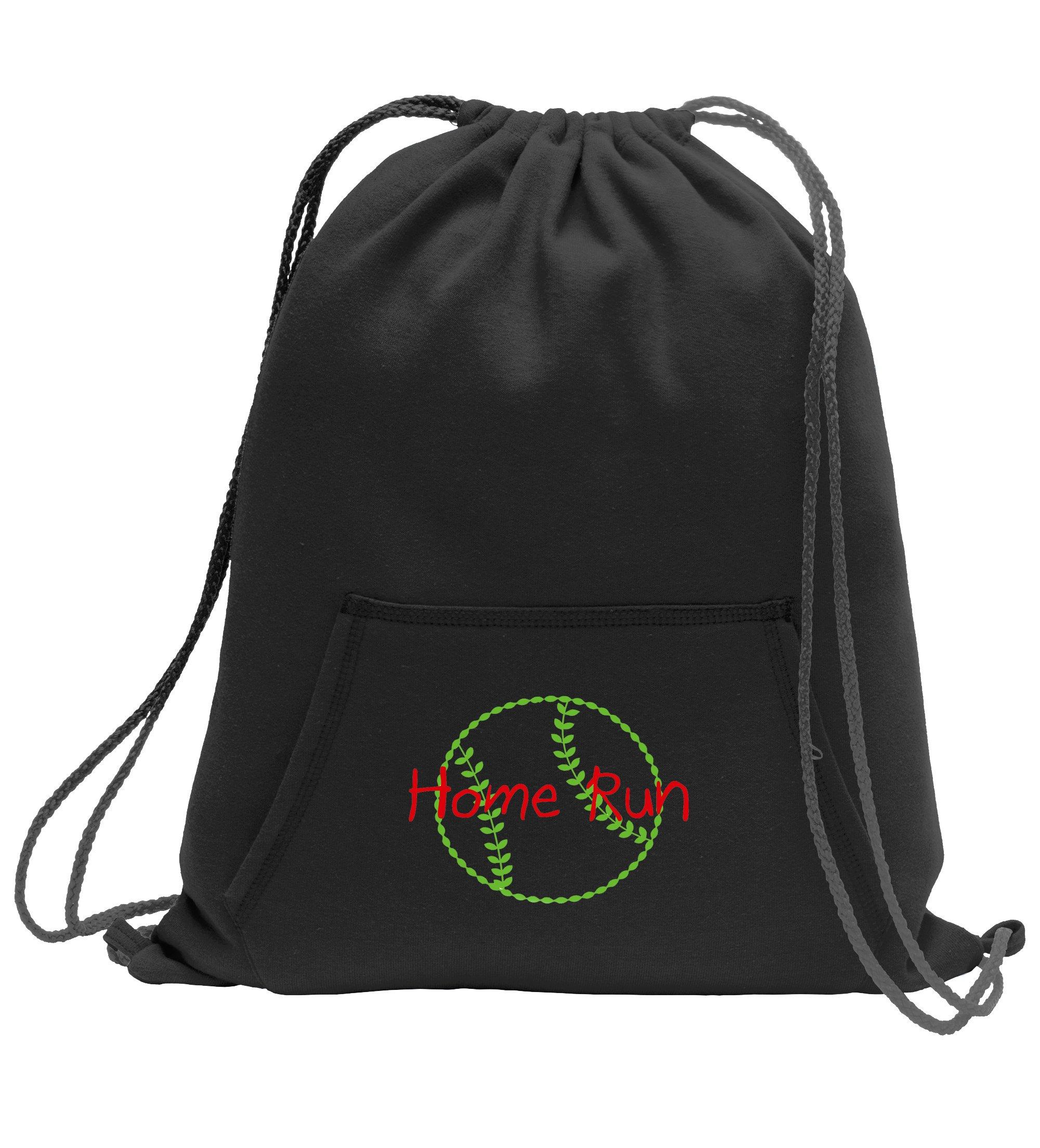 Baseball Softball Personalized - Sweatshirt Cinch Bag with Kangaroo Pocket (Jet Black)
