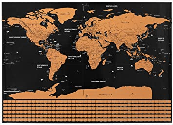 Amazon scratch off world travel map with flags office products scratch off world travel map with flags gumiabroncs Images