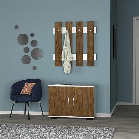 Mueble de Entrada Fulya con 2 Puertas y un Colgador con 4 ...