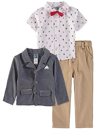 379a4a79c7ba Little Lad Baby Boy's 3 Piece Suit Pant Set (Anchor/Khaki, 12 Months