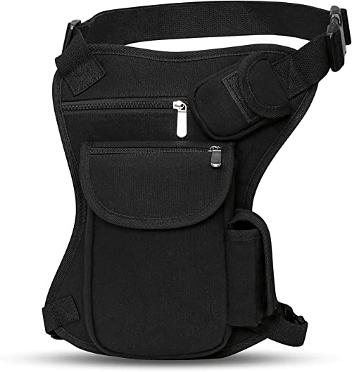 SEALINF Canvas Waist Bag Fanny Pack Racing Drop Leg Bag Motorcycle Outdoor Bag