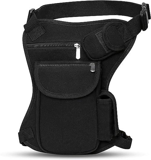 SEALINF Canvas Waist Bag Fanny Pack Racing Drop Leg Bag Motorcycle Outdoor Bag