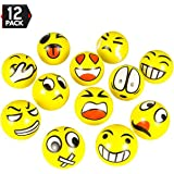"Big Mo's Toys 3"" Emoji Balls-Stress Reliver Party Favors (12 Piece), 3"""