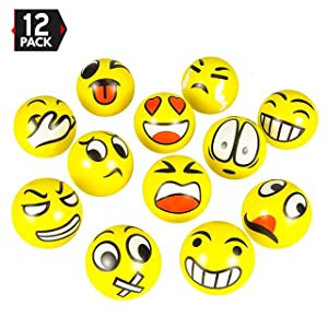 "3"" Party Pack Emoji Stress Balls Stress Reliver Party Favors, Toy Balls, Party Toys (12 Pack)"