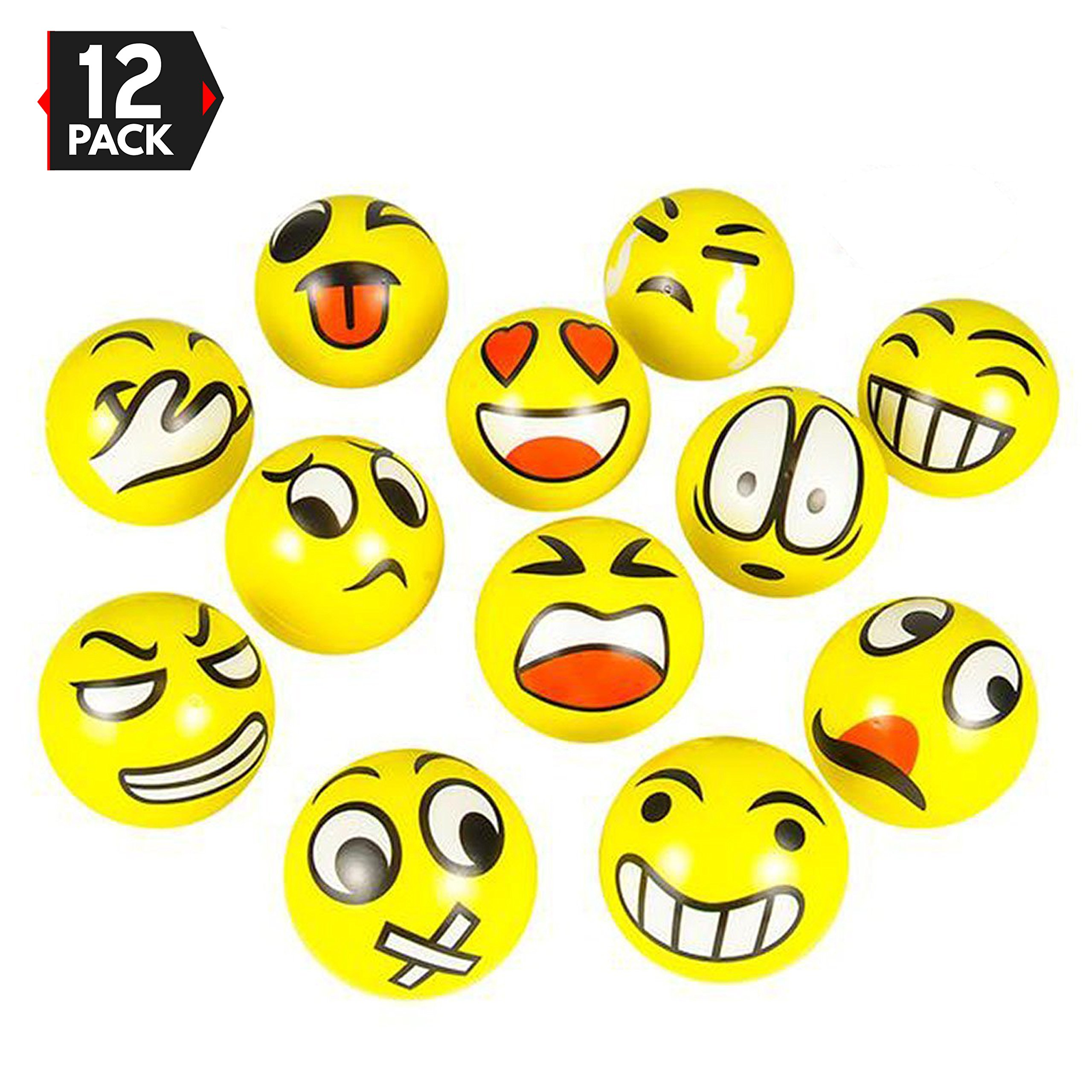 3'' Party Pack Emoji Stress Balls - Stress Reliver Party Favors, Toy Balls, Party Toys (12 Pack)