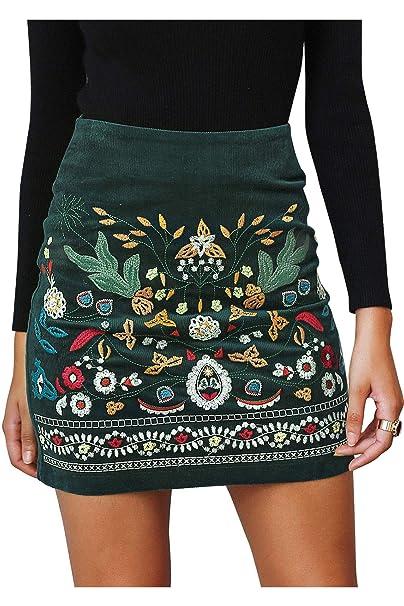 16d4d7d068 Simplee Women's Bodycon Luxury Floral Embroidery Boho High Waist Pencil  Skirts, Dark Green, 4