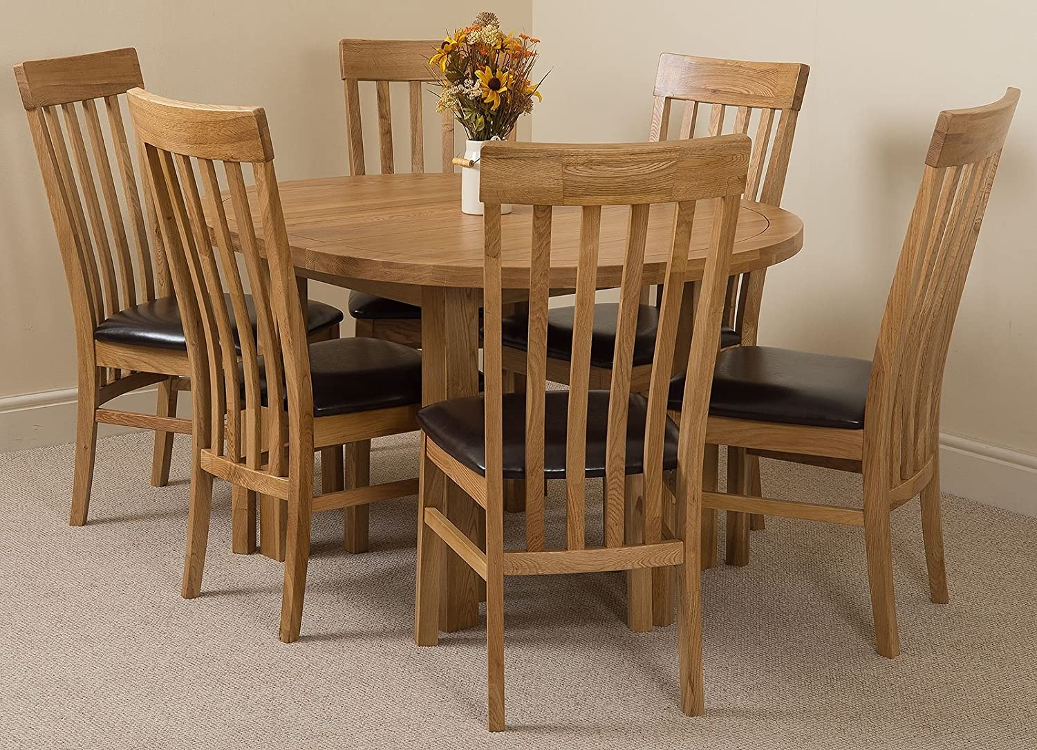 Modern furniture direct edmonton extending oval solid oak dining table 6 solid oak leather chairs 100 solid oak 110cm 140cm extending fast free