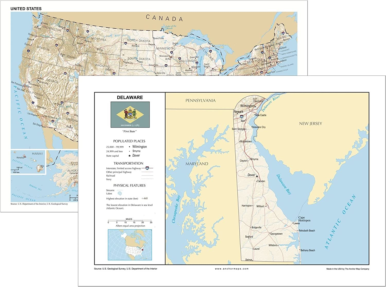 Amazon.com : 13x19 Delaware and 13x19 United States General ...
