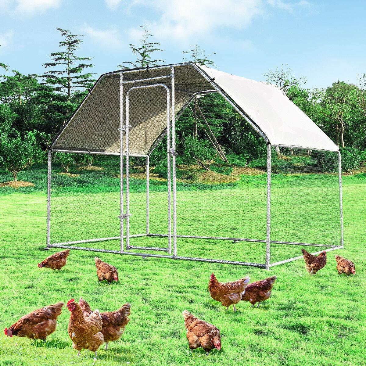 Giantex Large Metal Chicken Coop Walk-in Chicken Coops Hen Run House Shade Cage with Waterproof and Anti-Ultraviolet Cover for Outdoor Backyard Farm Use Poultry Cage (9.5' Lx 6.5' Wx 6 H') by Giantex