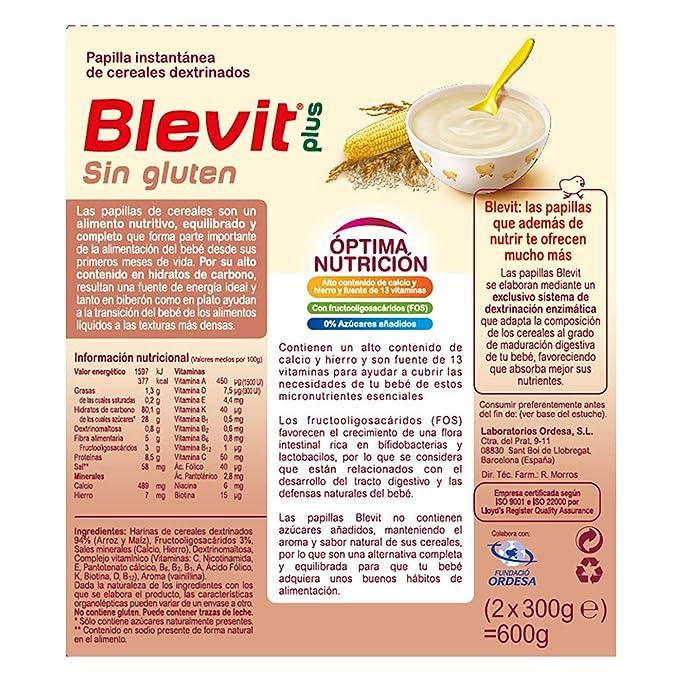 Blevit Plus Bibe Sin Gluten Cereales - Paquete de 2 x 300 gr ...