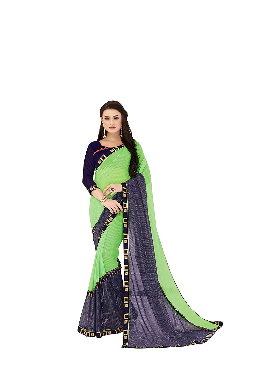 Naari Vastram Women's Georgette Embroidered Saree (HR_M-PG_Light Green_Free Size)