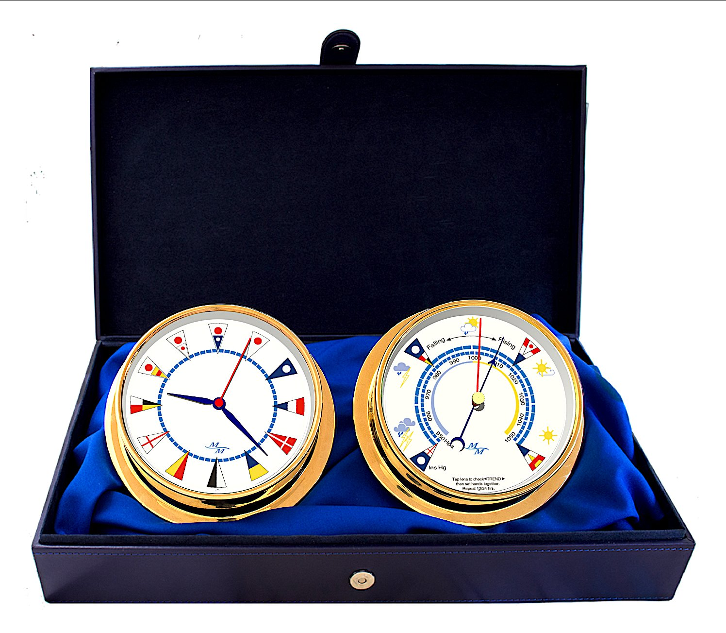 Master-Mariner American Voyager Collection, Nautical Cabin Gift Set, 5.75'' Diameter Clock and Barometer Instruments, Gold Finish, Ivory Signal Flag dial