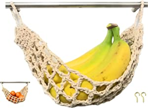 Hanging Fruit Hammock Under Cabinet - Handwoven Cotton Veggie or Banana Hammock to Hang on Furniture Handles - Kitchen Storage That Saves Counter Space at Home, Boat, Camper, or Rv