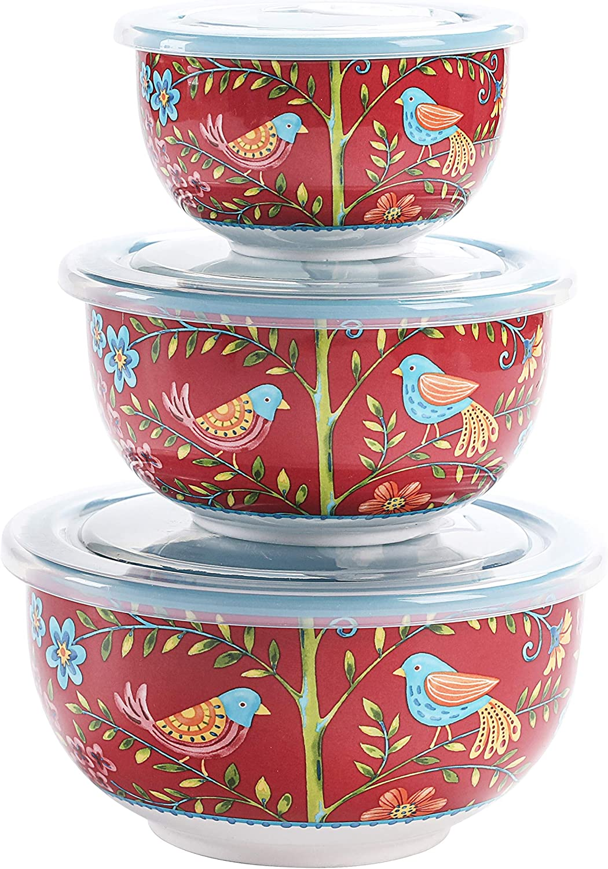 Bico Red Spring Bird Ceramic Bowl with Air Tight Lid Set of 3(27oz, 18oz, 9oz each), Prep bowls, Food Storage Bowl for Salad, Snacks, Fruits, Microwave and Dishwasher Safe