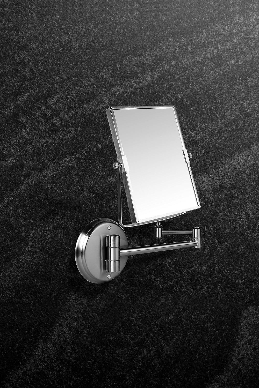 , 3X Acier Inoxydable Ambrosya/® Miroir cosm/étique Exclusif en Acier Inoxydable avec Un grossissement de 5X Bross/é Lampe de Salle de Bains LED Maquillage Miroir Table WC