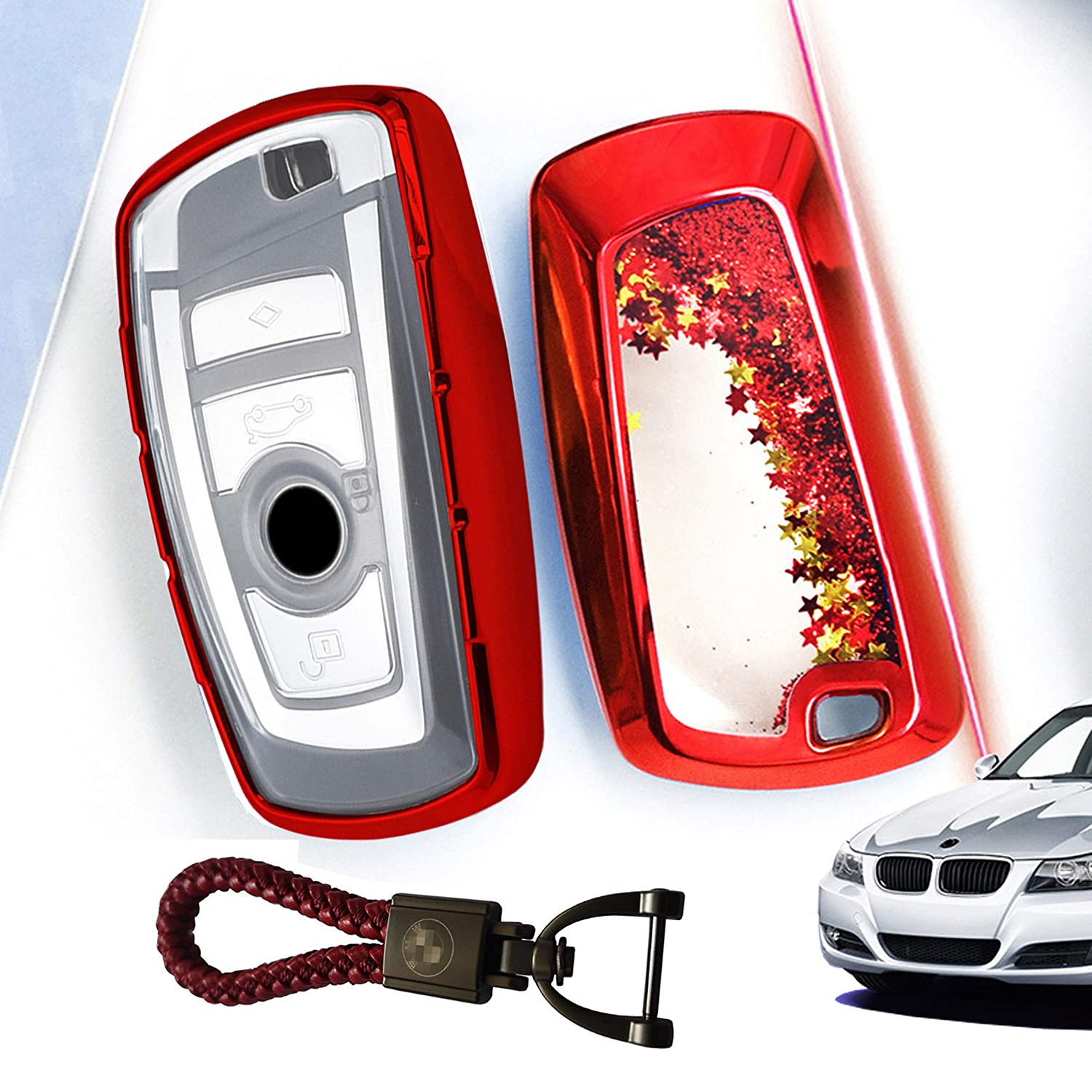 BINOWEN Premium Soft TPU Protection Smart Remote Keyless Key Fob Cover with Keychain Fit for BMW 1 3 4 5 6 7 Series X3 X4 M5 M6 GT3 GT5 3//4 Button