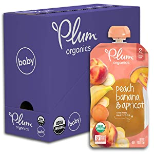 Plum Organics Stage 2, Organic Baby Food, Peach, Banana and Apricot, 4 Ounce pouches (Pack of 6)