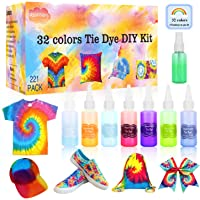 Riomhorry 32 Colors Tie Dye Kit with Gloves, Aprons, Rubber Bands and Plastic Table Covers