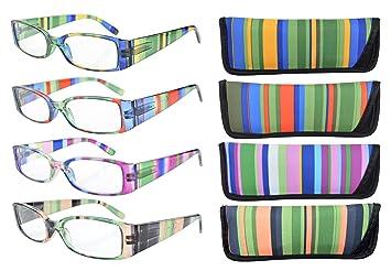 463f4a0e6f Eyekepper Gafas de Lectura de Patas Rayadas con Bisagra de Resorte de 4  Pares +2.0: Amazon.es: Salud y cuidado personal
