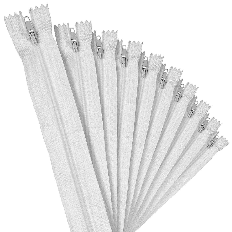 Faden /& Nadel Fil /& Aiguille 10 Nylon 40 cm Fermetures /Éclair Blanches Non s/éparables Longueur