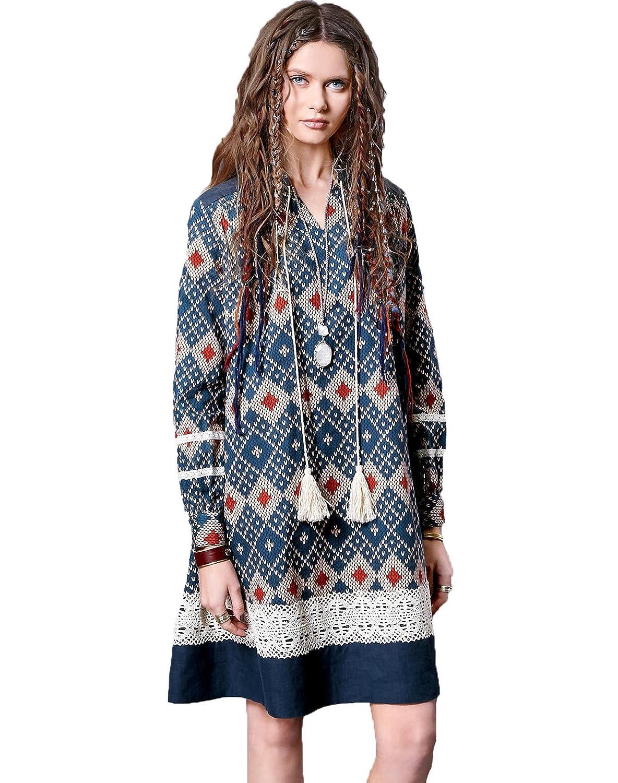 Artka Women's Fall Boho Fashion V-neck Long Sleeve Lace Cotton Smock Dress LA10562Q