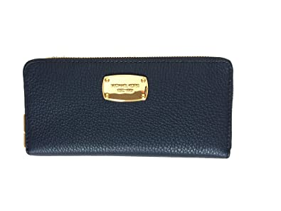 60f1092378b177 Image Unavailable. Image not available for. Color: Michael Kors Jet Set  Item Zip Around Continental Accordion Style Leather Wallet in Navy