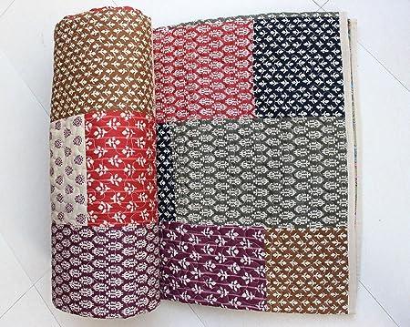 Mango Regalos de algodón Puro Premium – Patchwork Gudri (Colcha), diseño de patrón Floral edredón, Cama Doble tamaño Cama propagación 90