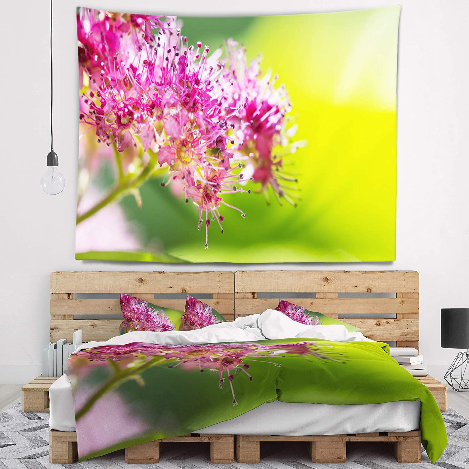 x 68 in 80 in Designart TAP10006-80-68  Pink Little Flowers in Green Floral Blanket D/écor Art for Home and Office Wall Tapestry x Large Created On Lightweight Polyester Fabric