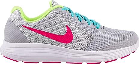 NIKE Kids' Revolution 3 (GS) Running Shoes (Wolf Grey/White,