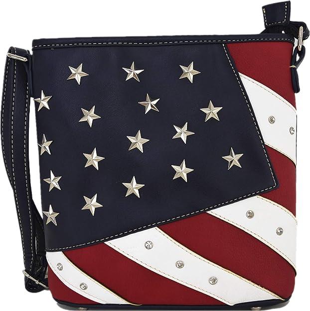 USA American Flag Cross Body Shoulder Messenger Laptop Bag