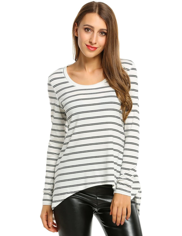 Zeagoo Ladies Women Tops Long Sleeve Striped T-shirt O-Neck Irregular Blouse