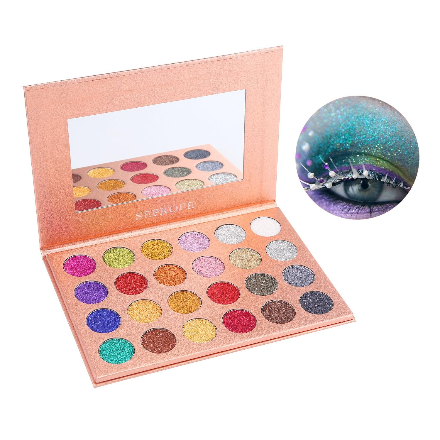 Ultra-fine Pressed Eye Shadow Palette - Aolvo 24 Colors High Pigment, Durable,Longlasting And Waterproof, Professional Diamond Giltter Eye Shadow Pallet Suitable For Women
