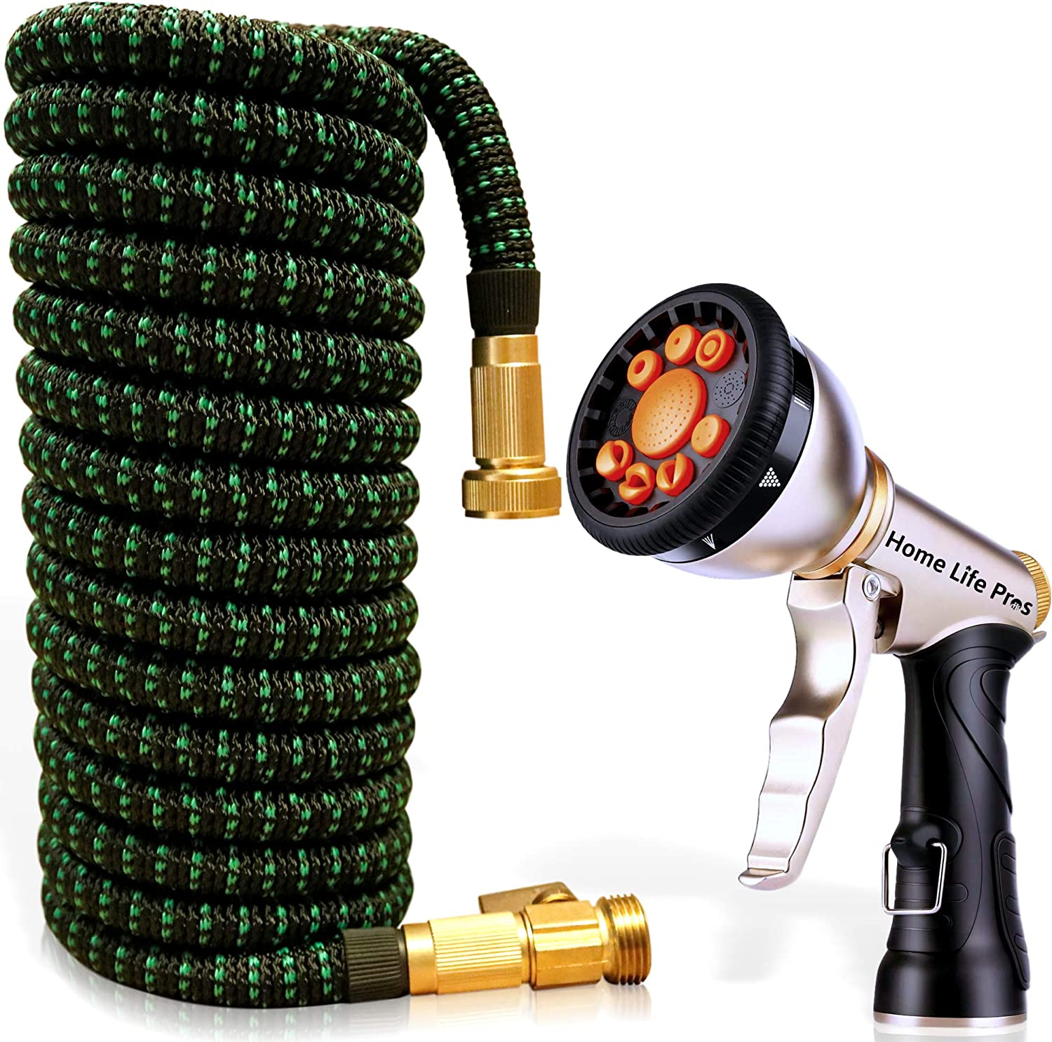Expandable Garden Hose 50FT Heavy Duty No-Kink Compact Lightweight Waterhose Outdoor Lawn Shrinking Water Hose Expanding 50 FT Car Wash 3/4 Retractable Collapsible Non-Kinking Watering Hose
