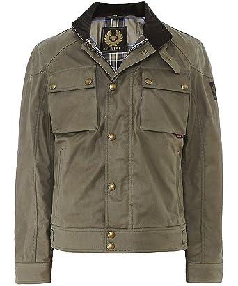 2908e394d497 Belstaff Men s Wax Racemaster Jacket UK 46 Green  Amazon.co.uk  Clothing