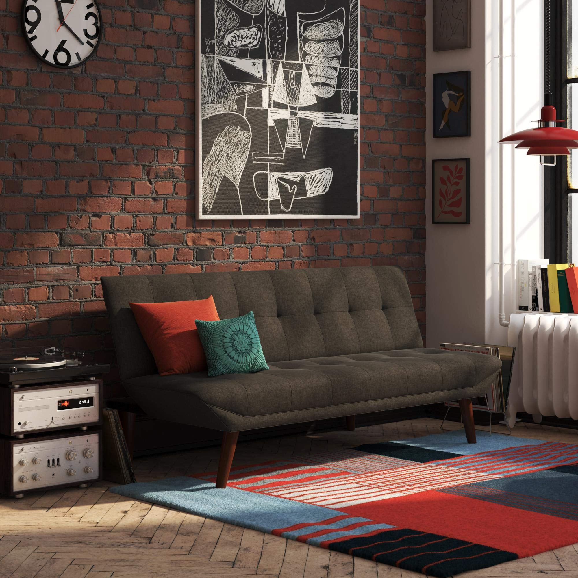 REALROOMS Adley Small Space Convertible Modern Futon Couch Lounger, Dark Grey Linen by REALROOMS