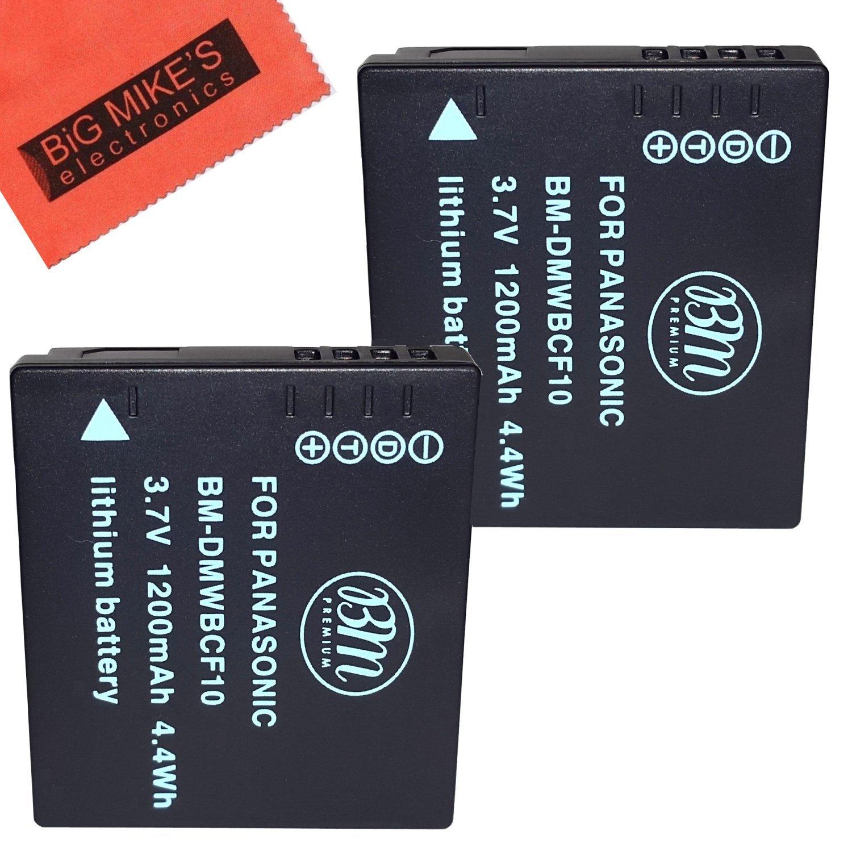 Pack of 2 DMW-BCF10 Batteries for Panasonic Lumix DMC-TS2 DMC-TS3 DMC-TS4 DMC-F2 DMC-F3 DMC-FH1 DMC-FH3 DMC-FH20 DMC-FH22 DMC-FS6 DMC-FS12 DMC-FS15 DMC-FS25 DMC-FS42 DMC-FS62 DMC-FT1 DMC-FP8 DMC-FX700 Digital Camera + More!! Big Mike' s DMW-BCF10E