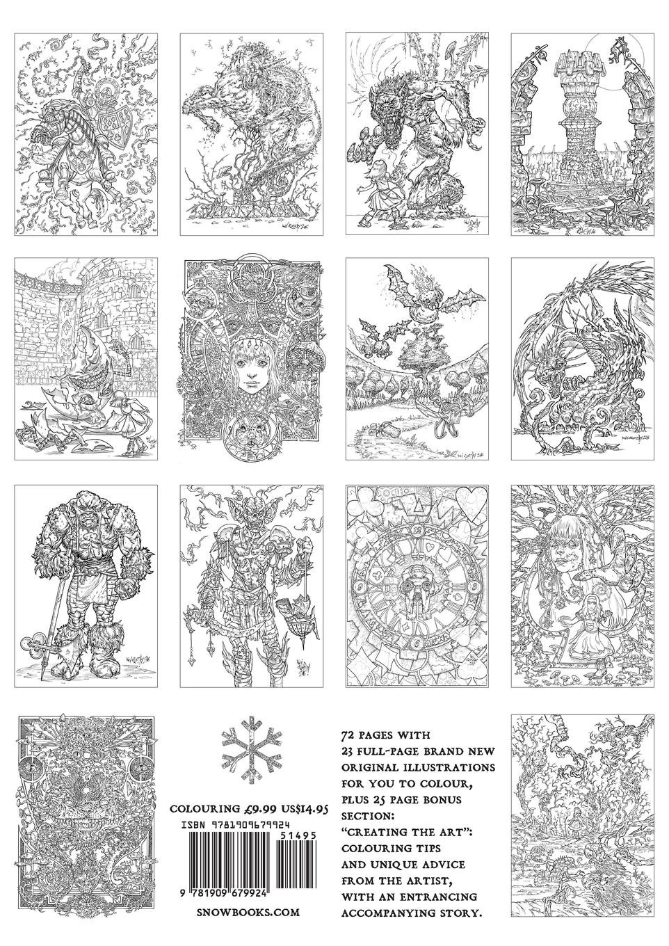 Alices nightmare in wonderland colouring book two through the looking glass and the horrors alice found there snowbooks fantasy colouring books