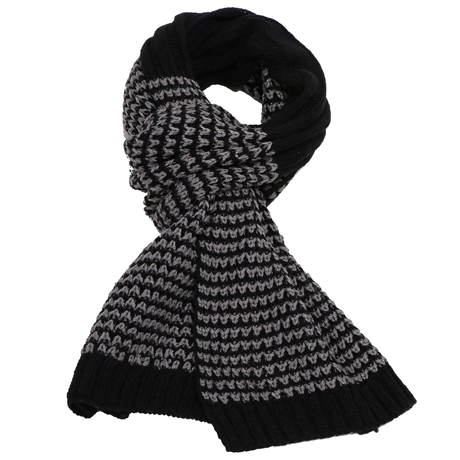 Simplicity Men / Women Cable Stripe Knit Winter Scarf – Solid / Two Tone Color Black onesize 88-B15080033-01