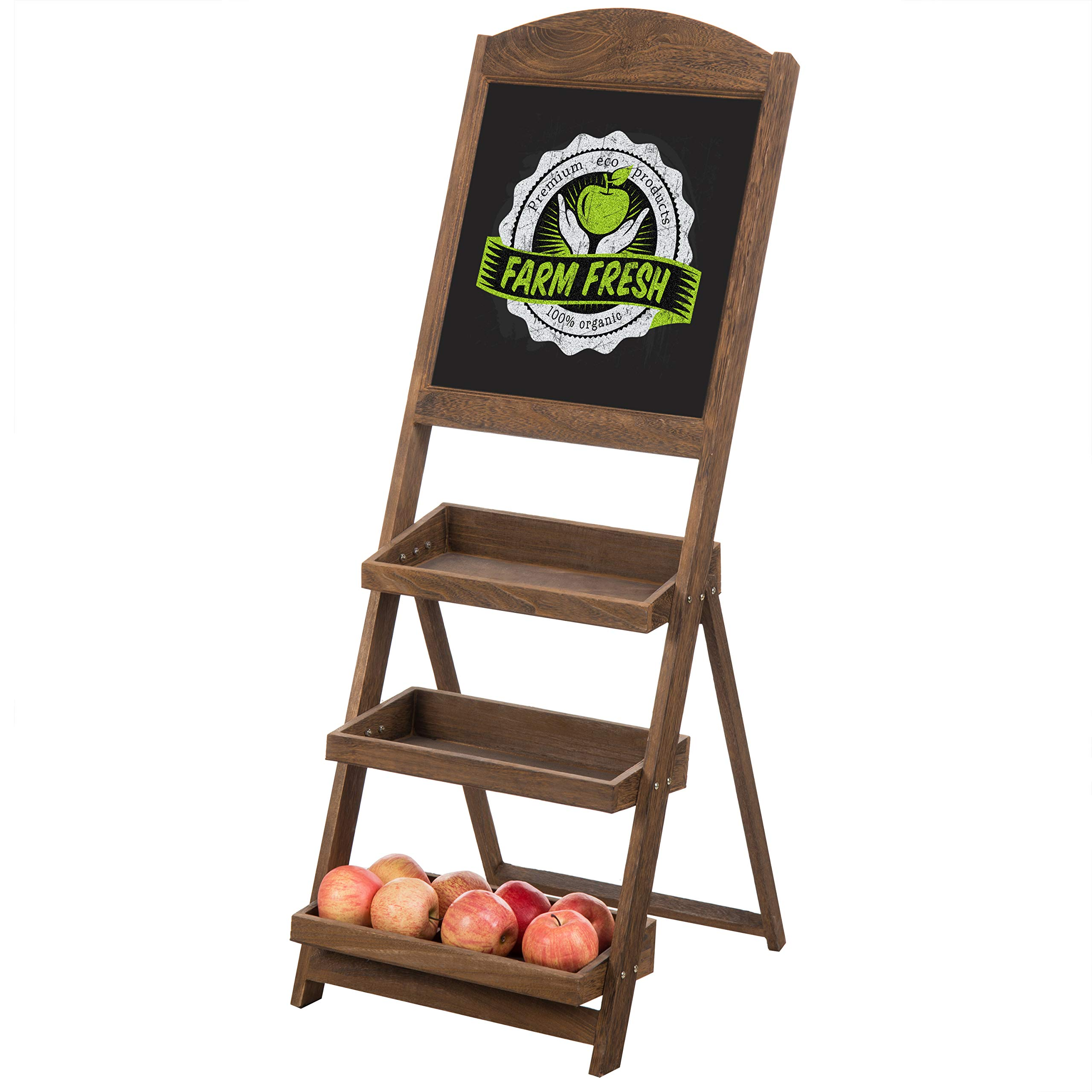 MyGift Rustic Burnt Wood Chalkboard Easel with 3-Tiered Display Shelves by MyGift