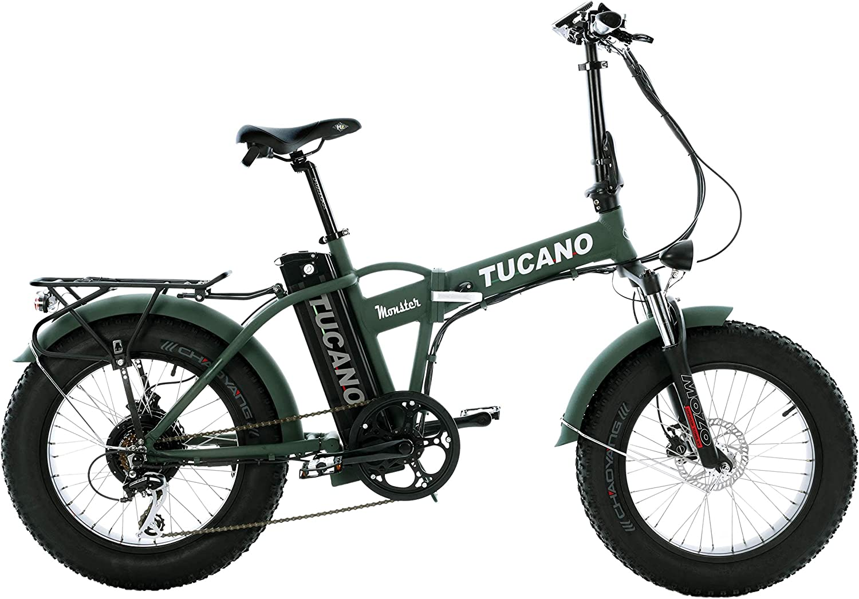 Tucano Bikes Monster 20 Limited Edition. Bicicleta Eléctrica Plegable - Motor 500W - Supensión Delantera - Velocidad Máxima 33km/h - Display LCD - Frenos hidráulicos (Verde Mate)