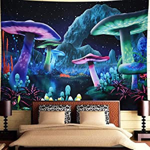 Trippy Tapestry for Bedroom Aesthetic,Psychedelic Mushroom Fantasy Wall Tapestry,Galaxy Space Starry Night Sky Tapestry Wall Hanging for Room Decor (H51.2×W59.1)