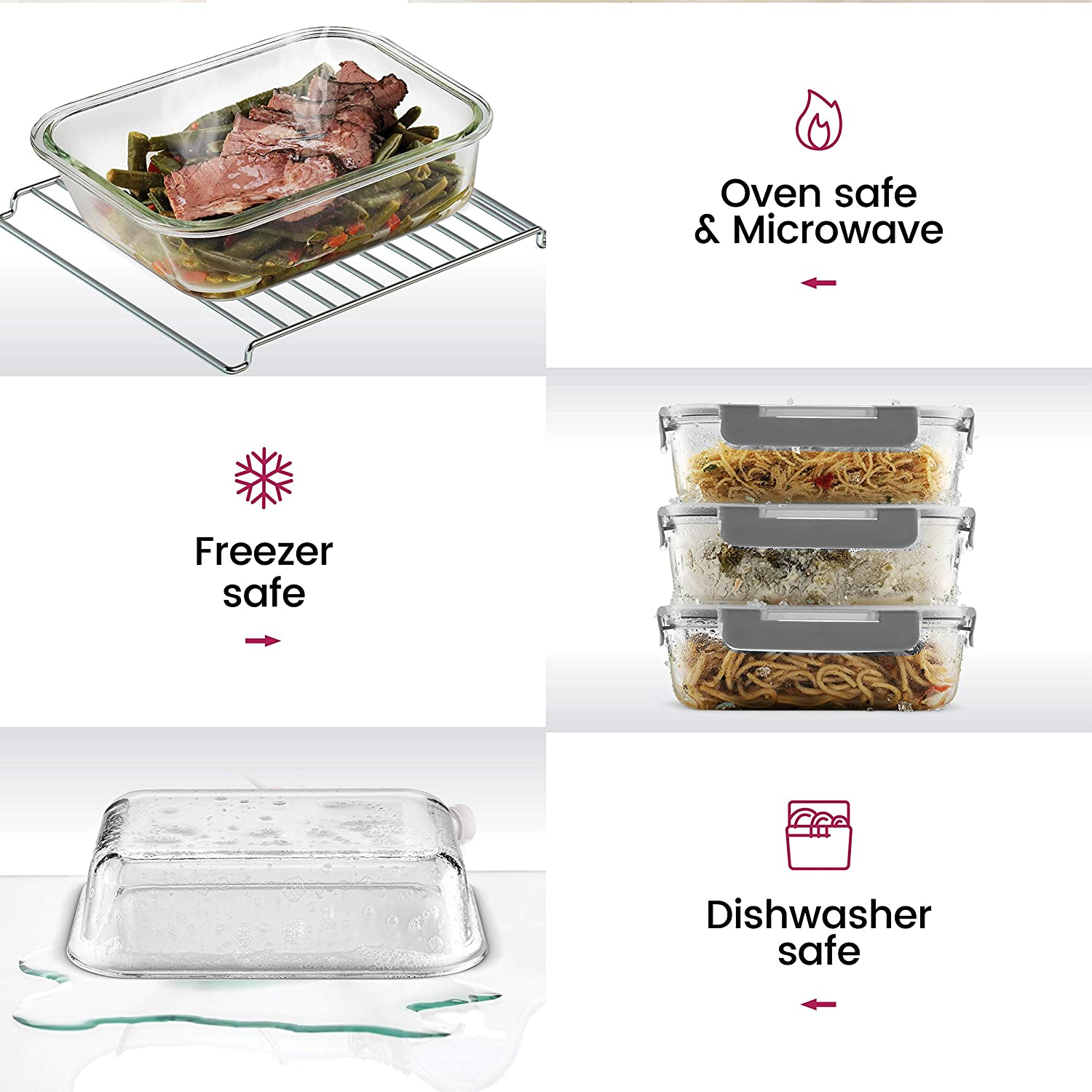 24-Piece Superior Glass Food Storage Containers Set - Newly Innovated Hinged BPA-free Locking lids - 100% Leakproof Glass Meal-Prep Containers, Great On-the-Go & Freezer-to-Oven-Safe Food Containers: Kitchen & Dining