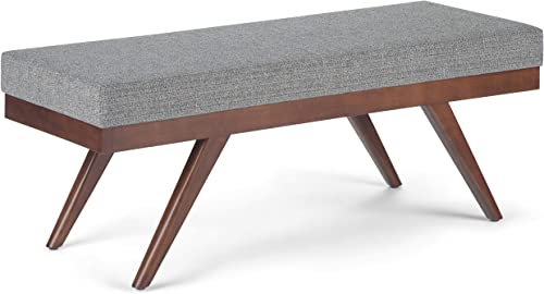 SIMPLIHOME Chanelle 48 inch Wide Rectangle Ottoman Bench Pebble Grey Footrest Stool