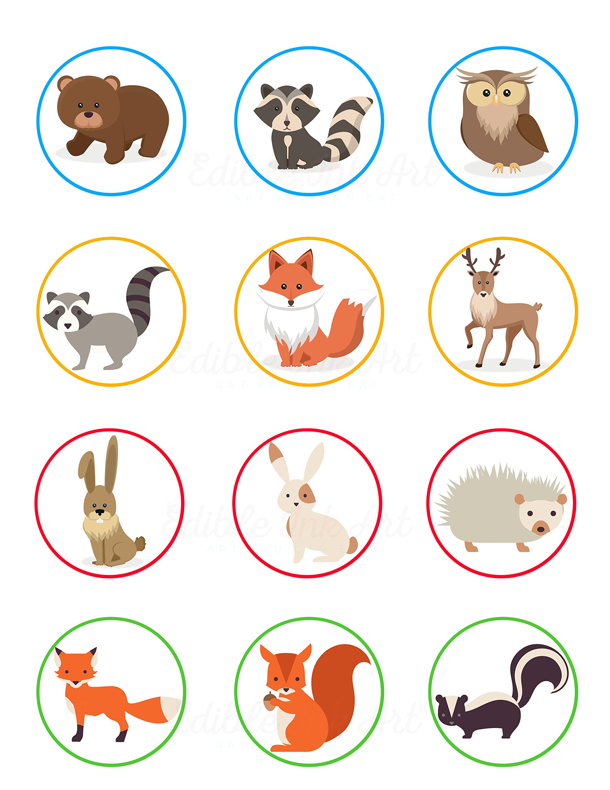 Forest Woodland Animal Edible Cupcake Toppers (12 Images) Cake Image Icing Sugar Sheet Edible Cake Images